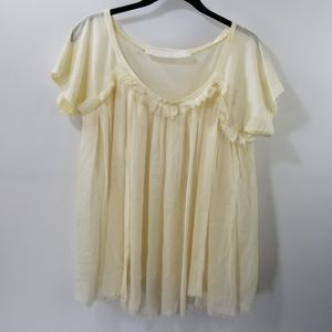 Lanvin Off White Silk Blend Ruffled Top Size S